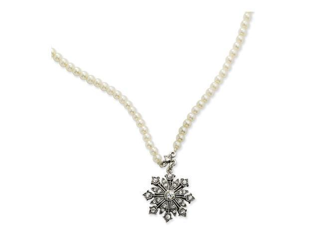 """Cultura Glass Pearl/Crystal Snowflake 15""""w/Ext Necklace"""