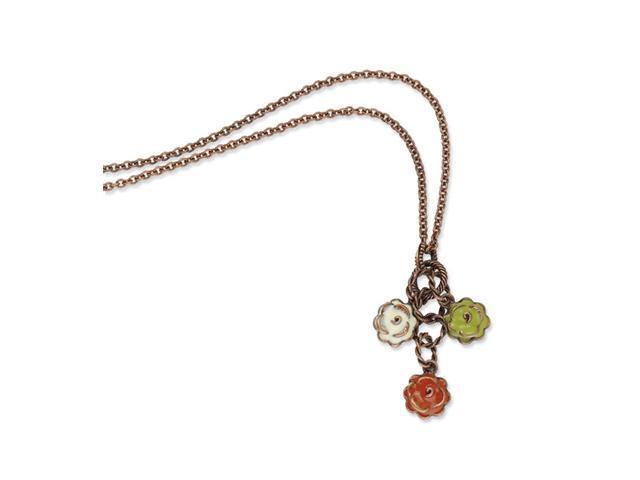 Copper-tone Green, Orange & Ivory Enamel 16in Necklace