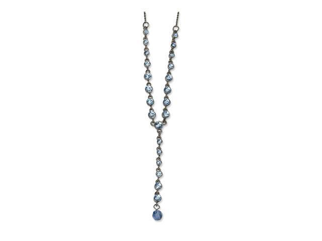 Black-plated Light Blue Crystal 16in w/Ext Y Necklace