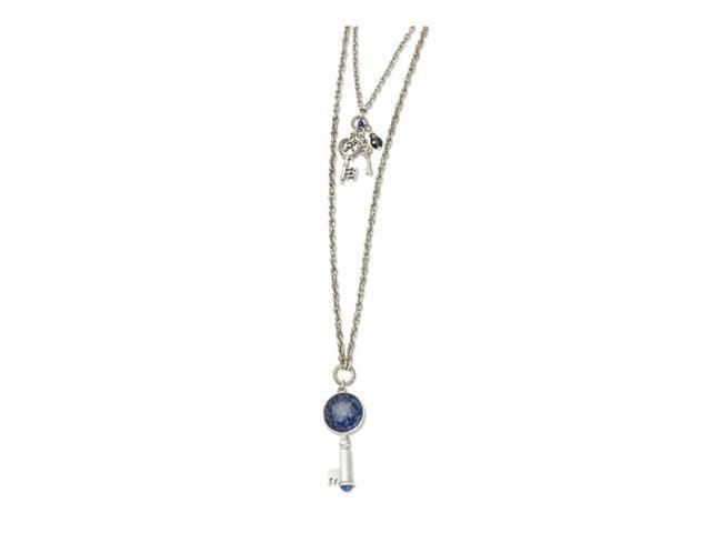 Silver-tone Sodalite&Blue Crystal Key Pendants Necklace