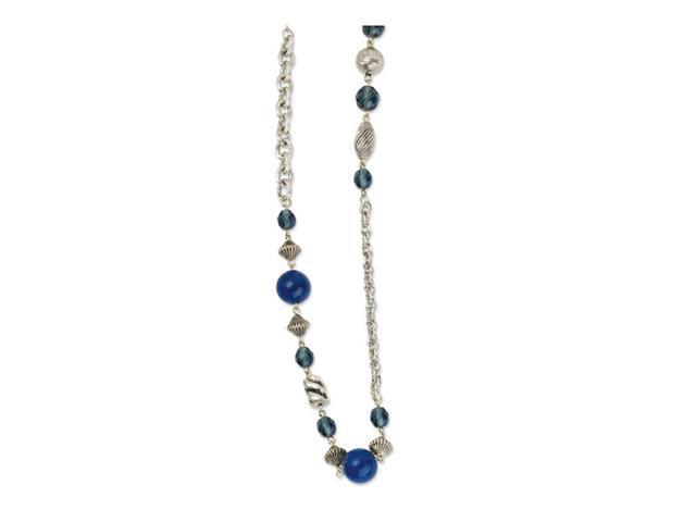 Silver-tone Blue Bead & Crystal 44in Necklace