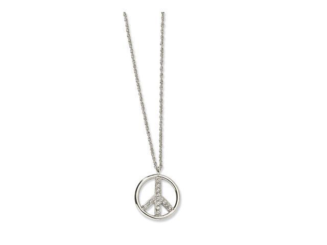 Silver-tone Crystal Peace Symbol 16