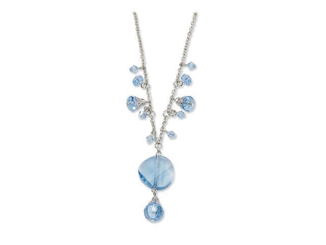 Silver-tone Light Blue Crystal Drop 16