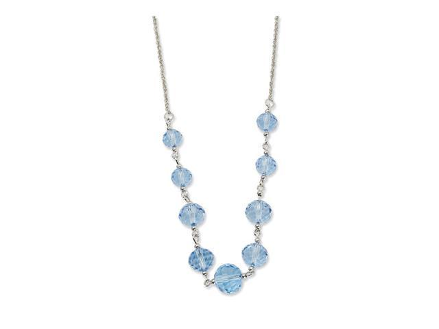 Silver-tone Blue Crystal Beaded 16