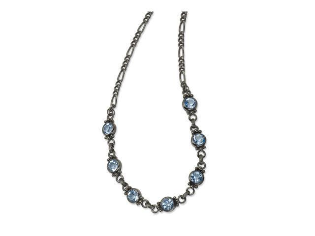 Faceted Light Blue Crystal Link 15.5in w/ext Necklace