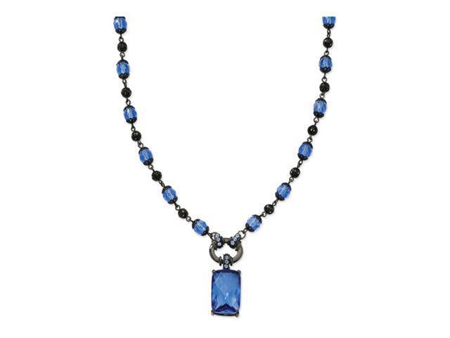 Black-plated Light&Dark Blue Crystal Drop 16