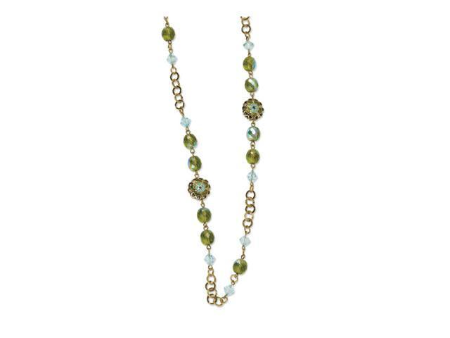 Brass-tone Aqua & Green Crystal 42in Necklace