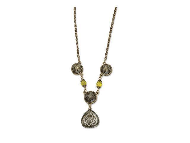 Light Green Crystal Teardrop Filigree 16in Necklace