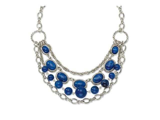 Silver-tone Blue Beads 16in w/Ext Necklace