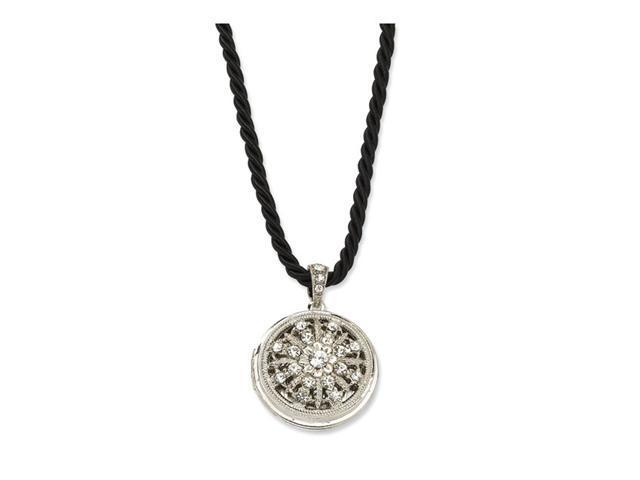Clear Crystal Round Locket on 18in Twist Cord Necklace