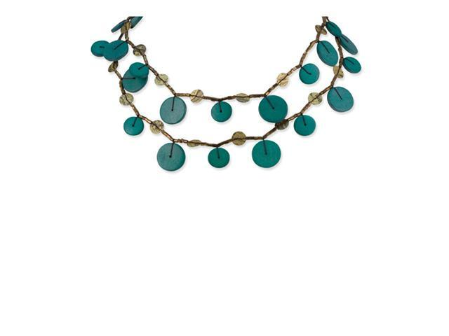 Silvertone Turquoise Hamba Wood Sequin Fashion Necklace