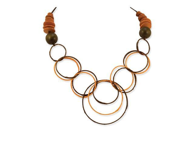 Brown Hamba Wood Plastic Straw Wrapped Circles Necklace