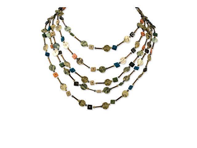 Silver-tone Multicolored Coconut Bead Sequined Necklace