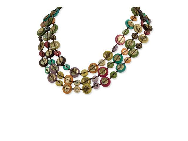 "Silver-tone Multicolored Hamba Wood Sequin 18"" Necklace"