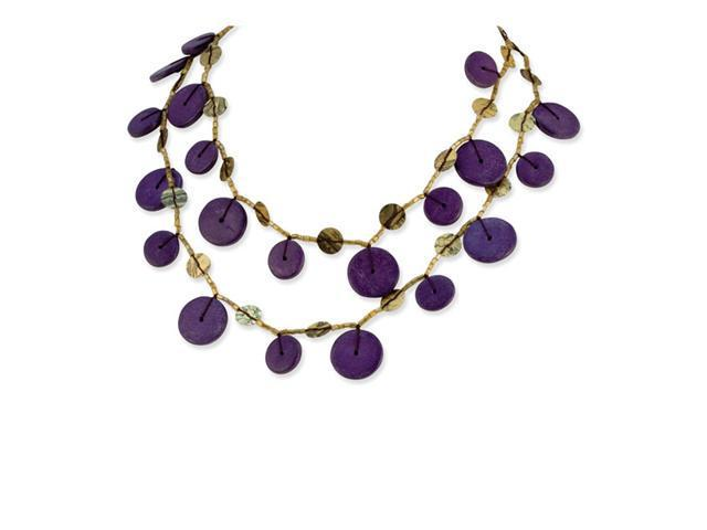 Brown Purple Hamba Wood Sequin Long Fashion Necklace
