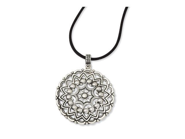 Silver-tone Sunbrust Pendant 16in w/Ext Necklace