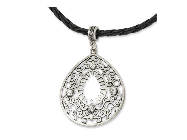 "Filigree Teardrop w/Clear Crystal Pendant 16"" Necklace"