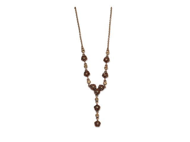 Copper-tone Lt. Colorado&Brown Crystal 15in Y Necklace