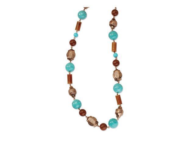 Copper-tone Aqua & Brown Beads 44in Necklace