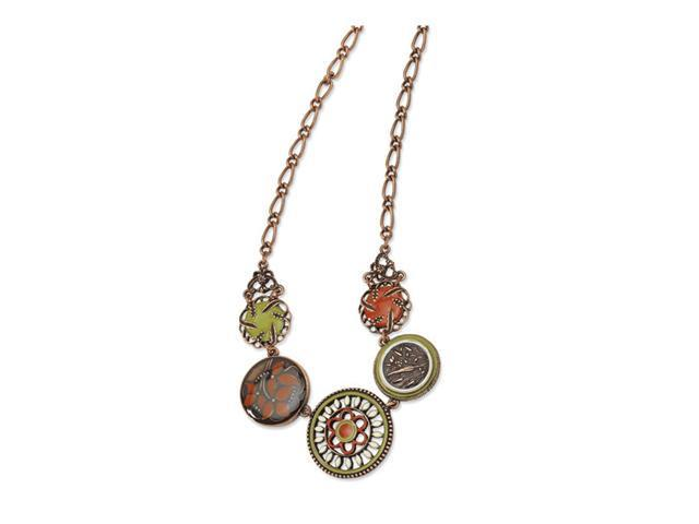 Copper-tone Green, Orange & Ivory 16in w/Ext Necklace