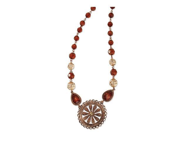 Copper-tone Lt. Colorado & Brown Crystal 16in Necklace