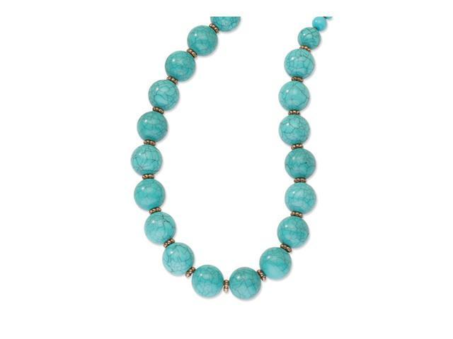 Copper-tone Aqua Beads 16in w/Ext Necklace