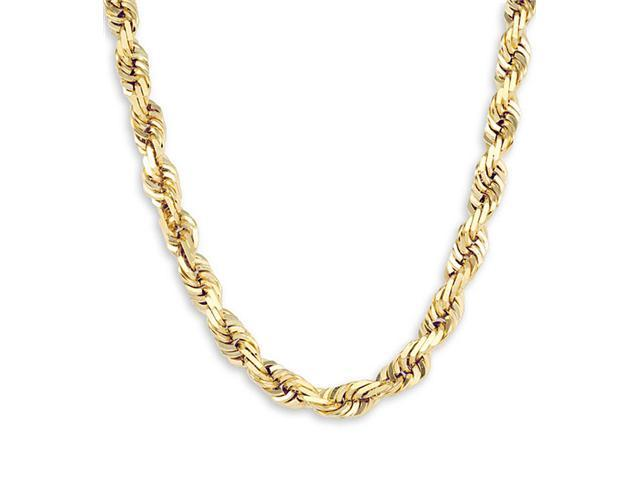 New Solid 14k Yellow Gold Rope Chain Necklace 8mm