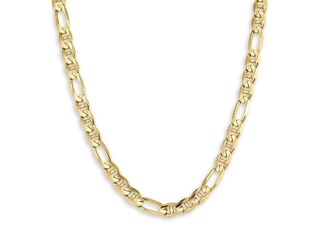 New Figaro 14k Yellow Gold Chain Link Necklace 6.9 mm