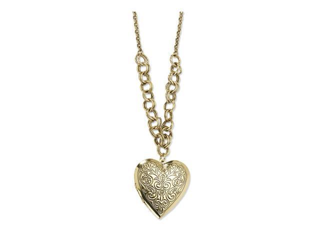 "Brass-tone Heart Locket on 28"" Necklace"