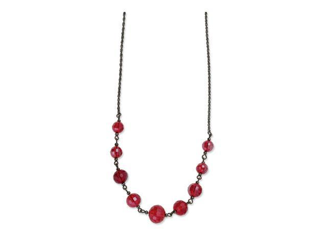 Black-plated Red Crystal Beaded 16