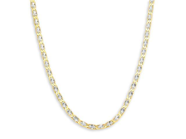 14k Yellow White Gold Valentino Link Chain Necklace 20""
