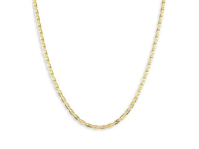 "14k Yellow White Gold Valentino Link 20"" Chain Necklace"