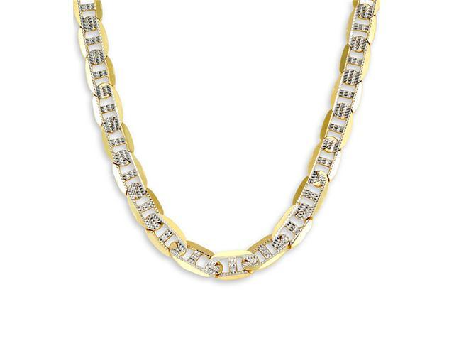New 14k Two Tone Gold Mariner Chain Milgrain Necklace