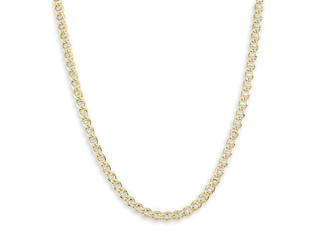 New 14k White Yellow Gold Cuban Chain Necklace 3.4mm