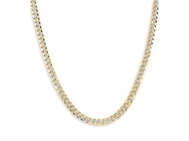 New 14k Two Tone Gold Cuban Chain Link Necklace 3.2mm
