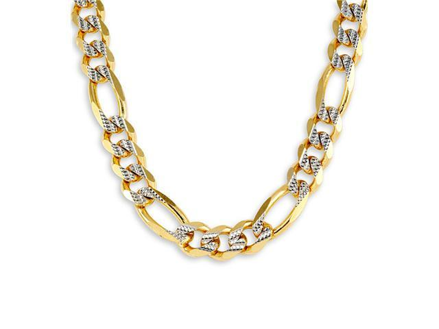 14k Yellow White Figaro Milgrain Chain Necklace 15mm