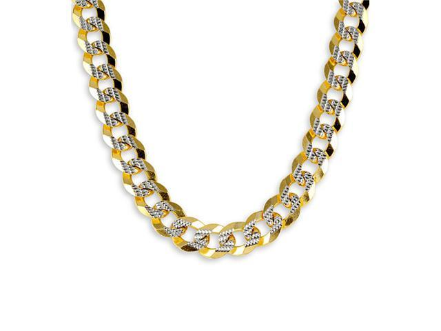 New 14k Two Tone Gold Curb Chain Milgrain Necklace 11mm