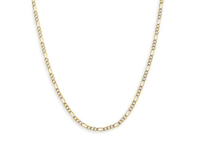 New 14k Two Tone Gold 2.7 mm Figaro Chain Link Necklace