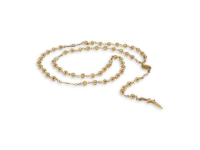14k Yellow Gold Crucifix Religious Bead Rosary Necklace