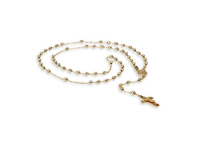 14k Solid Gold Crucifix Polished Cross Rosary Necklace