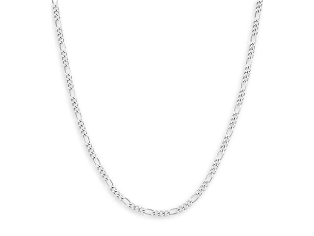 New 14k White Gold Polished Figaro Chain Necklace 3mm