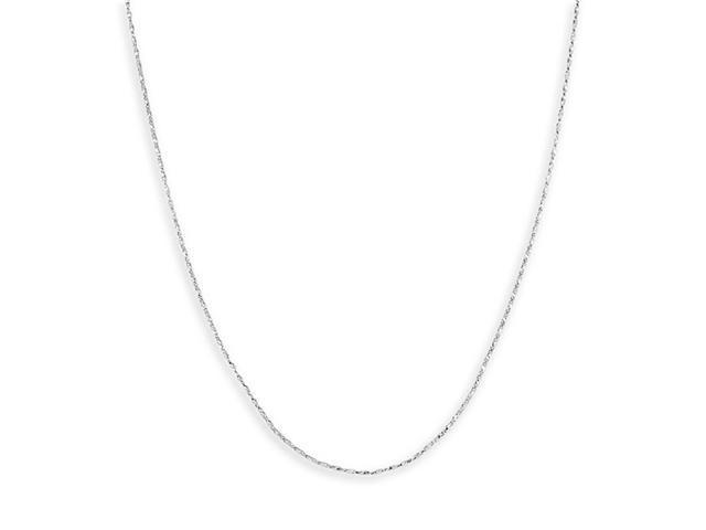 Solid 14k White Gold Link 1mm Fashion Chain Necklace
