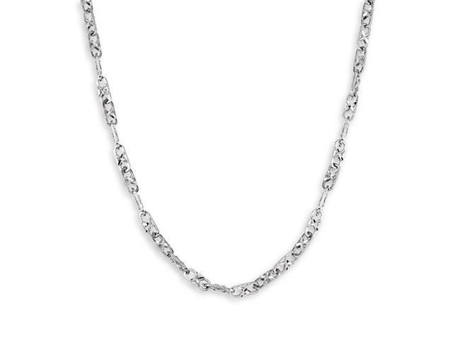 New Solid 14k White Gold Chain Link Necklace 4.2mm 22""