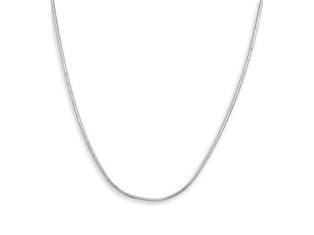 Solid 14k White Gold Polished 1mm Snake Chain Necklace