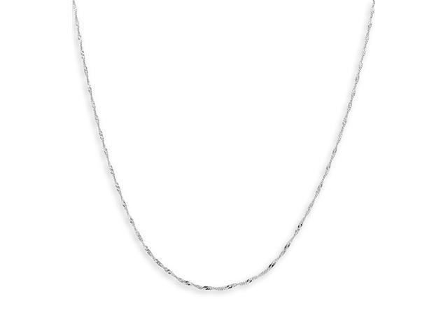 Polished 14k White Gold 1mm Singapore Chain Necklace