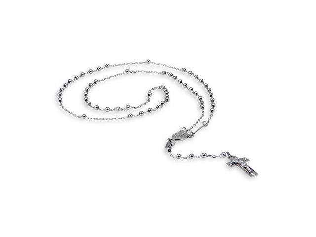 14k White Gold Cross Crucifix Religious Rosary Necklace