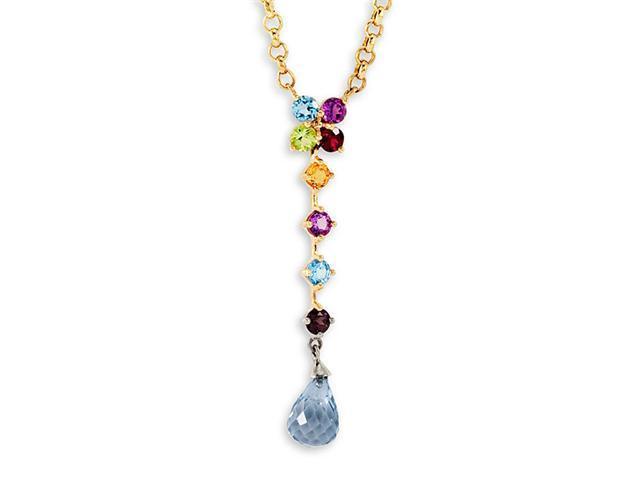 New 10k Yellow Gold Multi Gemstone Drop Dangle Necklace