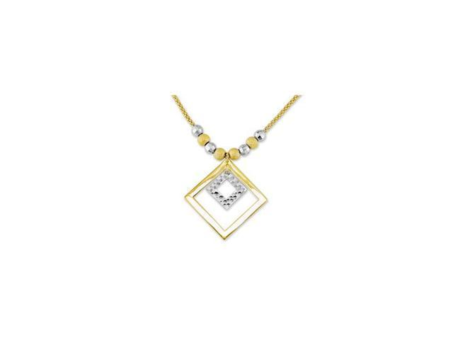 14k Two Tone Gold Reversible Princess Charm Necklace