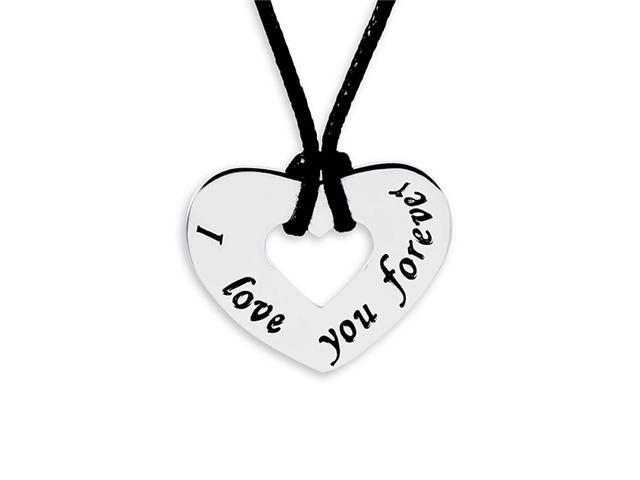 925 Sterling Silver I Love You Forever Heart Necklace