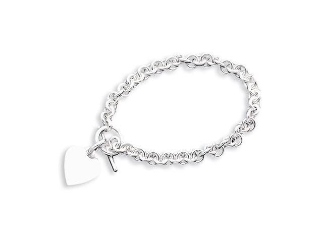 925 Sterling Silver Heart Charm Cable Chain Necklace
